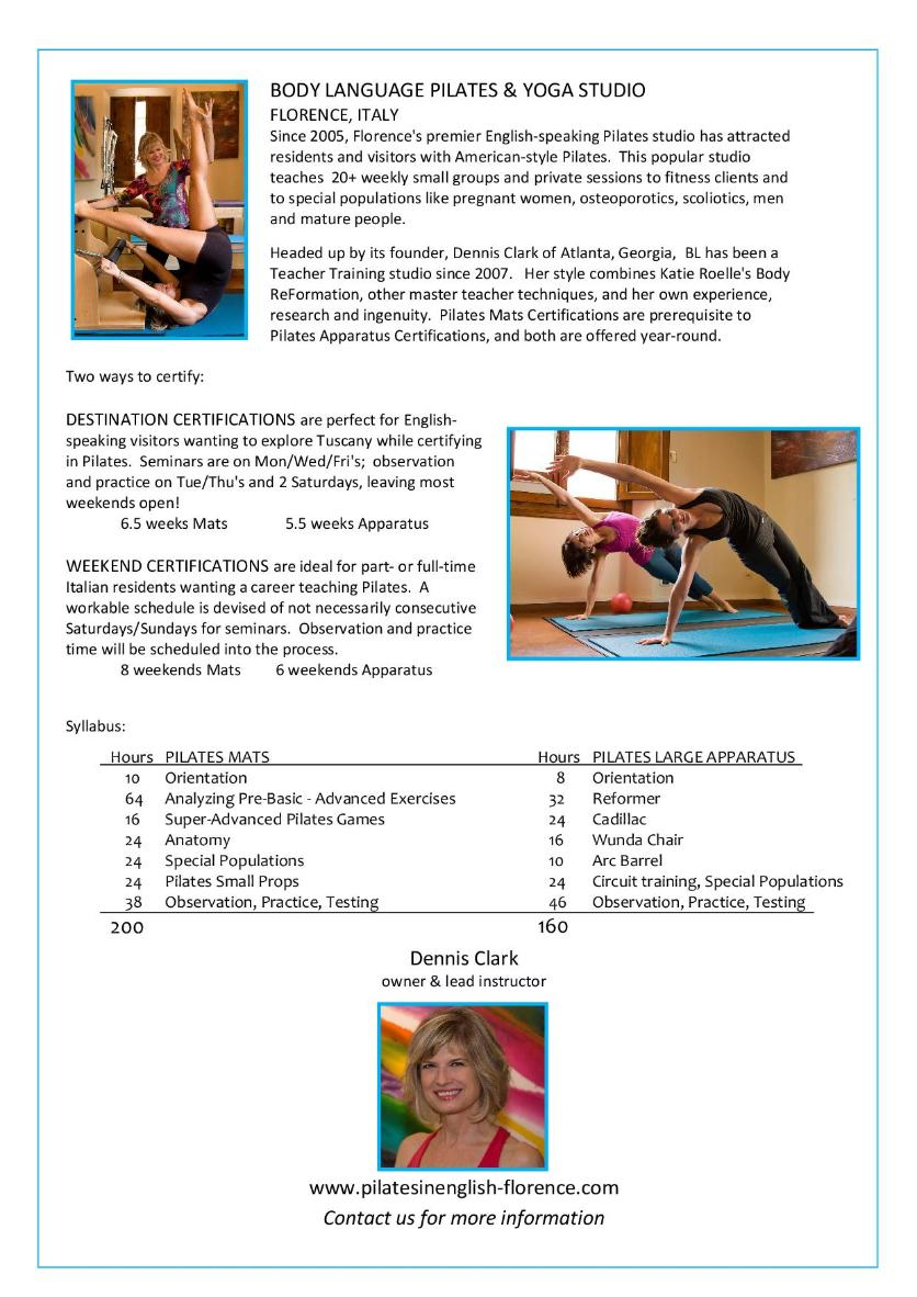 Body language pilates yoga studio florence inquire about all teacher training sessions xflitez Gallery